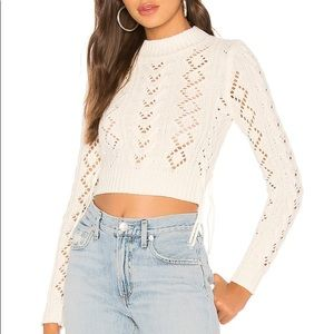 LOVERS + FRIENDS ivory lace up crop sweater